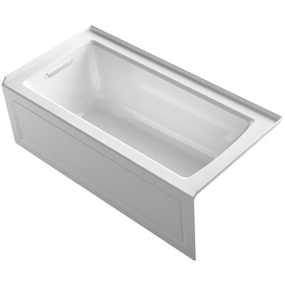 Archer Alcove Bath with Bask Heated Surface, Integral Apron, Tile Flange and Right-Hand Drain Finish: White