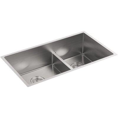 "Strive 32"" L x 18-5/16"" W x 9-5/16"" Smart Divide Under-Mount Large/Medium Double-Bowl Kitchen Sink with Basin Rack"