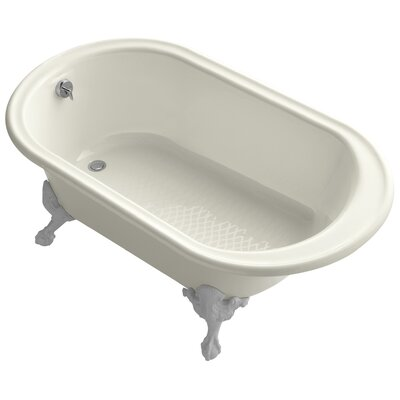 """Transitional 66"""" Clawfoot Bath Tub with White Exterior, Less Feet Finish: Biscuit"""