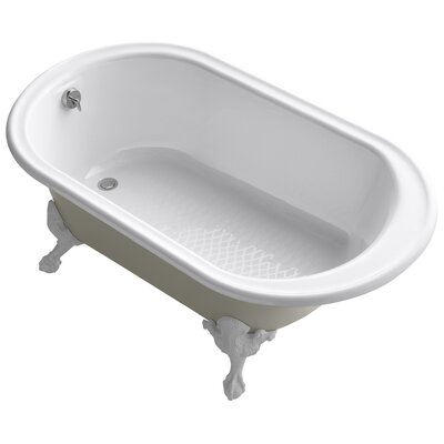 """Transitional 66"""" Clawfoot Bath Tub with White Exterior, Less Feet Finish: White"""