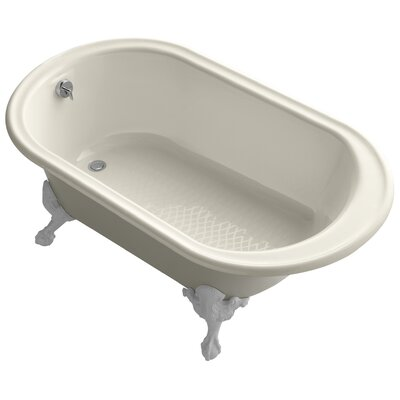 """Transitional 66"""" Clawfoot Bath Tub with White Exterior, Less Feet Finish: Almond"""