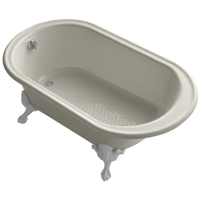 "Transitional 66"" Clawfoot Bath Tub with White Exterior, Less Feet Finish: Sandbar"