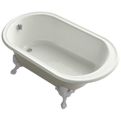 """Transitional 66"""" Clawfoot Bath Tub with White Exterior, Less Feet Finish: Dune"""