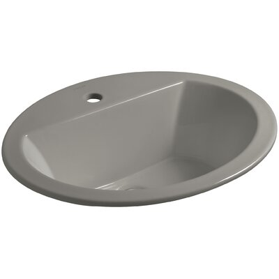 Bryant Ceramic Oval Drop-In Bathroom Sink with Overflow Finish: Cashmere, Faucet Hole Style: 4'' Centerset