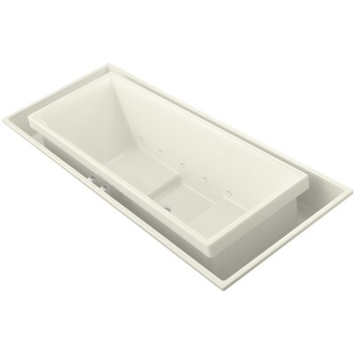 """Sok 104"""" x 41"""" Drop-In Effervescence Bath with Center Drain Finish: Biscuit"""