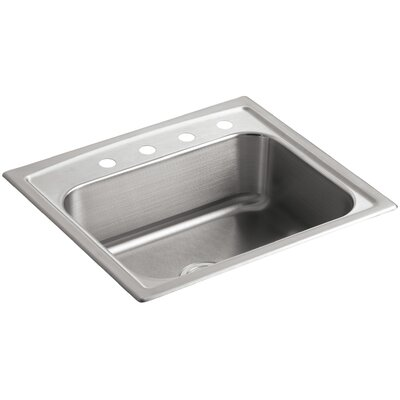 "Toccata 25"" L x 22"" W x 7-11/16"" Top-Mount Single-Bowl Kitchen Sink with 4 Faucet Holes"