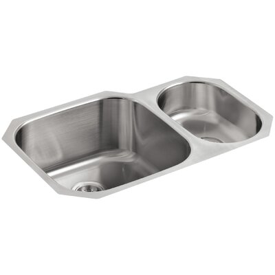 "Undertone 30-3/4"" L x 20-1/8"" W x 9-5/8"" Under-Mount High/Low Double Rounded Bowl Kitchen Sink"