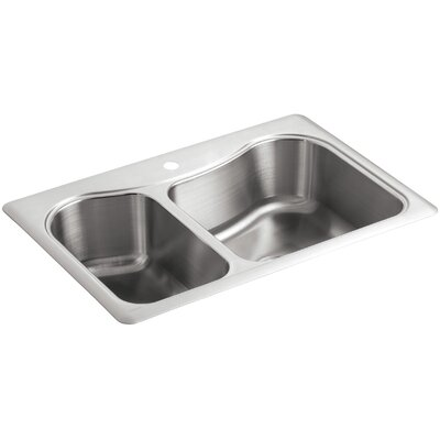 "Staccato 33"" L x 22"" W x 8-5/16"" Top-Mount Large/Medium Double-Bowl Kitchen Sink with Single Faucet Hole"