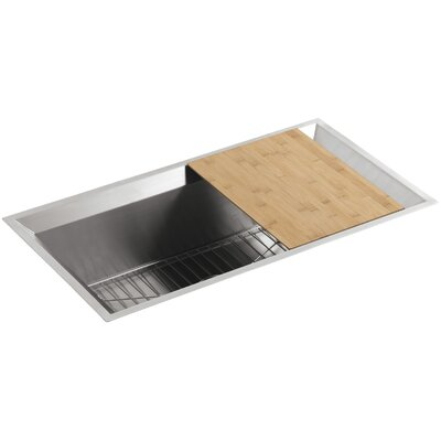 """Poise 33"""" L x 18"""" W x 9-3/4"""" Under-Mount Single-Bowl Kitchen Sink with Mirror Finished Rim, Cutting Board and Bottom Bowl Rack Finish: Standard"""