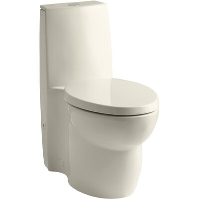 Saile Skirted One-Piece Elongated Dual-Flush Toilet with Top Actuator and Saile Quiet-Close Toilet Seat with Quick-Release Functionality Finish: Almond