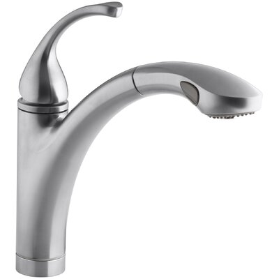 """Fort Single-Hole or 3-Hole Kitchen Sink Faucet with 10-1/8"""" Pullout Spray Spout and MasterClean Finish: Brushed Chrome"""