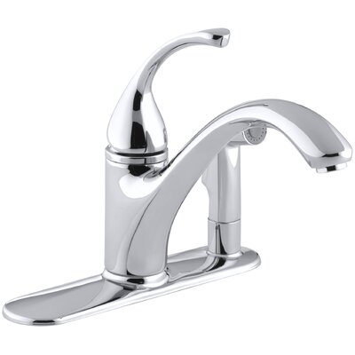 """Fort 3-Hole Kitchen Sink Faucet with 9-1/16"""" Spout with Matching Finish Sidespray In Escutcheon Finish: Polished Chrome"""