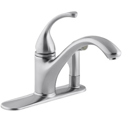 """Fort 3-Hole Kitchen Sink Faucet with 9-1/16"""" Spout with Matching Finish Sidespray In Escutcheon Finish: Brushed Chrome"""
