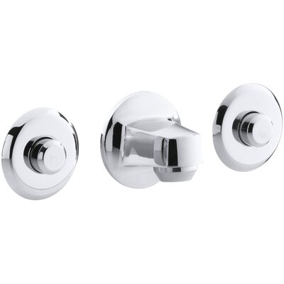 """Kohler Triton Shelf-Back, 3-Hole Vandal-Resistant Commercial Bathroom Sink Faucet with 5-1/2"""" Centers, 1-1/4"""" Spout and Drain with Non-Removable Stopper"""