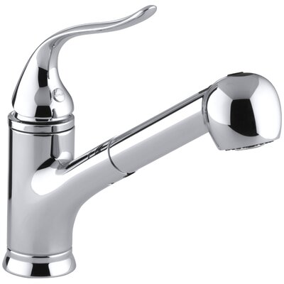 """Kohler Coralais Single-Hole or Three-Hole Kitchen Sink Faucet with Pullout Matching Color Sprayhead, 9"""" Spout and Lever Handle"""