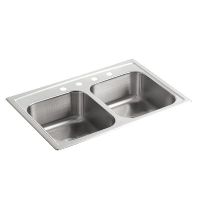 "Toccata 33"" L x 22"" W x 8-3/16"" Top-Mount Double-Equal Bowl Kitchen Sink with 4 Faucet Holes"