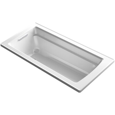 Archer Alcove VibrAcoustic Bath with Integral Apron, Tile Flange and Right-Hand Drain Finish: White