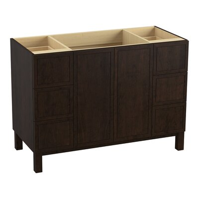 """Jacquard 48"""" Vanity with Furniture Legs, 2 Doors and 6 Drawers Finish: Claret Suede"""