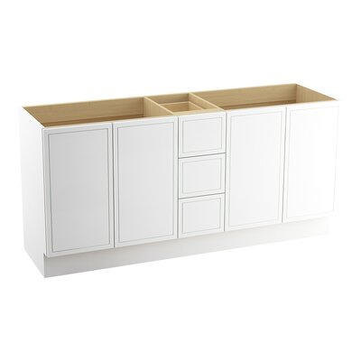 """Jacquard 72"""" Vanity with Toe Kick, 4 Doors and 3 Drawers, Split Top Drawer Finish: Linen White"""