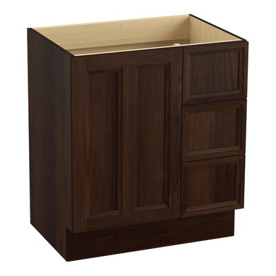 """Damask 30"""" Vanity with Toe Kick, 1 Door and 3 Drawers on Right Finish: Ramie Walnut"""