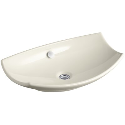 Bancroft Specialty Ceramic Specialty Vessel Bathroom Sink with Overflow Finish: Almond