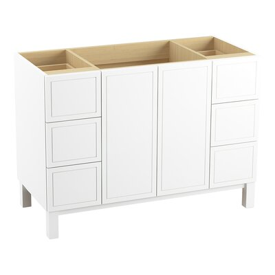 """Jacquard 48"""" Vanity with Furniture Legs, 2 Doors and 6 Drawers Finish: Linen White"""
