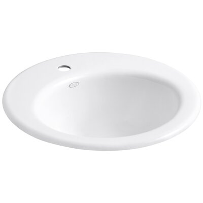 Radiant Metal Circular Drop-In Bathroom Sink with Overflow Finish: White
