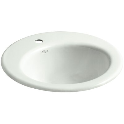Radiant Metal Circular Drop-In Bathroom Sink with Overflow Finish: Sea Salt
