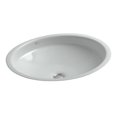 Canvas Metal Oval Undermount Bathroom Sink with Overflow Sink Finish: Ice Grey