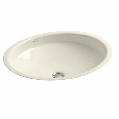 Canvas Metal Oval Undermount Bathroom Sink with Overflow Sink Finish: Almond