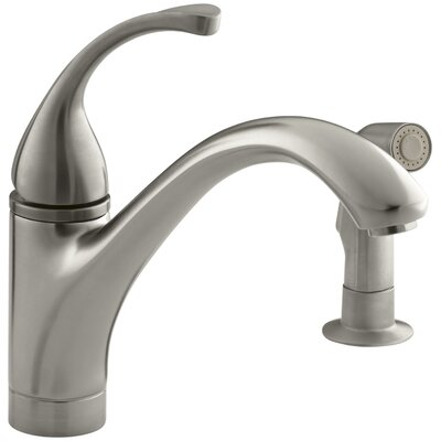 """Fort 2-Hole Kitchen Sink Faucet with 9-1/16"""" Spout, Matching Finish Sidespray Finish: Vibrant Brushed Nickel"""