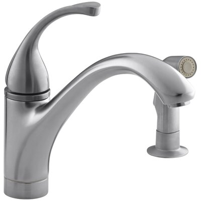 """Fort 2-Hole Kitchen Sink Faucet with 9-1/16"""" Spout, Matching Finish Sidespray Finish: Brushed Chrome"""