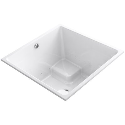 "Underscore 48"" x 48"" Drop-in BubbleMassage Air Bathtub with Bask Heated Surface and Center Drain Finish: White"