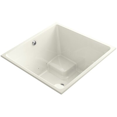 "Underscore 48"" x 48"" Drop-in BubbleMassage Air Bathtub with Bask Heated Surface and Center Drain Finish: Biscuit"
