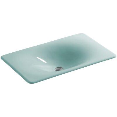 Iron Tones Metal Rectangular Drop-In Bathroom Sink Sink Finish: Vapour Green
