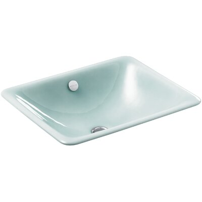 Iron Plains? Metal Rectangular Undermount Bathroom Sink with Overflow Finish: Vapour Green