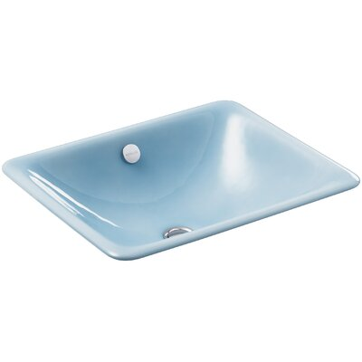 Iron Plains? Metal Rectangular Undermount Bathroom Sink with Overflow Finish: Vapour Blue