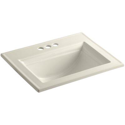 Memoirs Ceramic Rectangular Drop-In Bathroom Sink with Overflow Finish: Almond