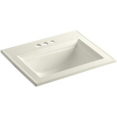 Memoirs Ceramic Rectangular Drop-In Bathroom Sink with Overflow Finish: Biscuit