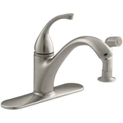 """Fort 4-Hole Kitchen Sink Faucet with 9-1/16"""" Spout, Matching Finish Sidespray Finish: Vibrant Brushed Nickel"""
