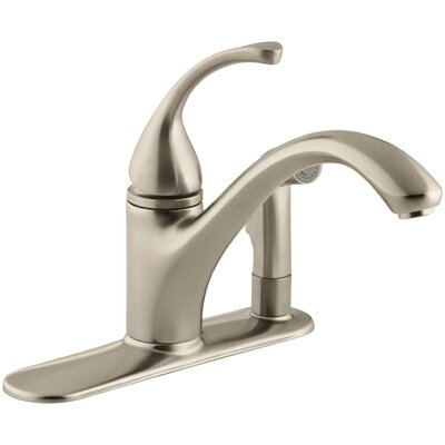 """Fort 3-Hole Kitchen Sink Faucet with 9-1/16"""" Spout with Matching Finish Sidespray In Escutcheon Finish: Vibrant Brushed Bronze"""