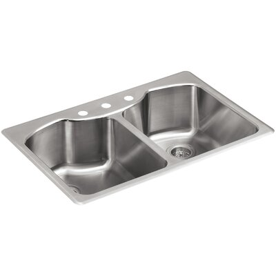 """Octave 33"""" L x 22"""" W x 9-5/16"""" Top-Mount Double-Equal Stainless Steel Kitchen Sink with Three-Faucet Holes"""