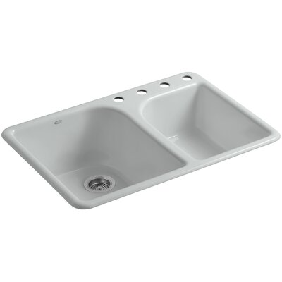 """Turnings 33"""" L x 22"""" W x 10-5/8"""" Top-Mount Large/Medium, High/Low Double-Bowl Kitchen Sink with 4 Faucet Holes Finish: Ice Grey"""
