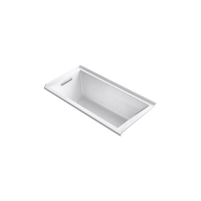 "Underscore 60"" x 30"" Soaking Bathtub Finish: White, Drain Location: Left"
