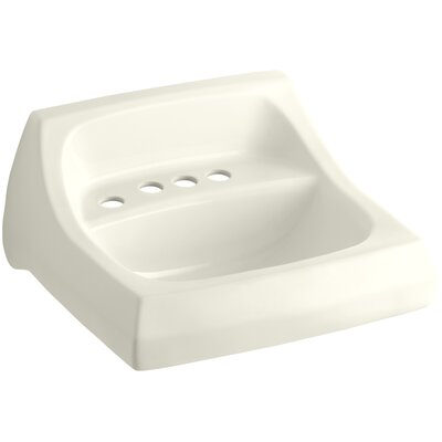 """Kingston Ceramic 22"""" Wall Mount Bathroom Sink with Overflow Sink Finish: Biscuit"""