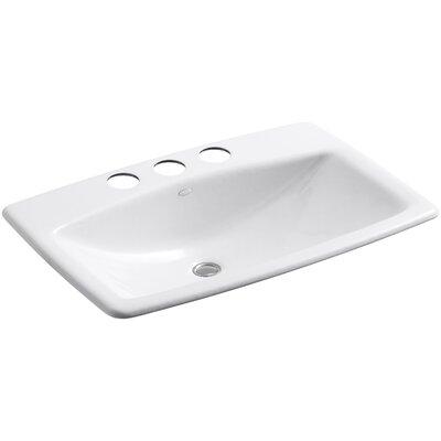 Man's Lav Metal Rectangular Undermount Bathroom Sink with Overflow Sink Finish: White