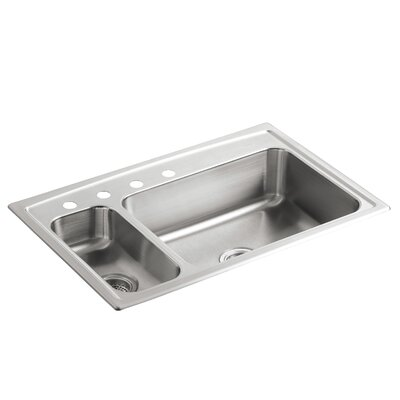 "Toccata 33"" L x 22"" W x 7-11/16"" Top-Mount High/Low Double-Bowl Kitchen Sink with Disposal Bowl and 4 Faucet Holes On The Left"