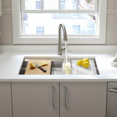 "Prolific 33"" L x 17-3/4"" W x 11"" Undermount Single Bowl Kitchen Sink with Accessories"