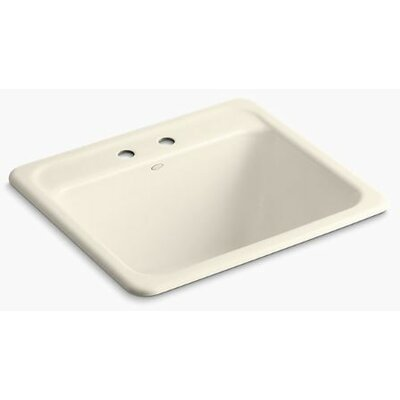 Glen Falls Top-Mount/Undermount Utility Sink with Two Faucet Holes Finish: Almond