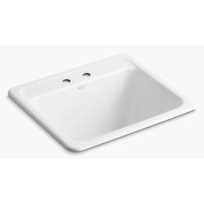 Glen Falls Top-Mount/Undermount Utility Sink with Two Faucet Holes Finish: White
